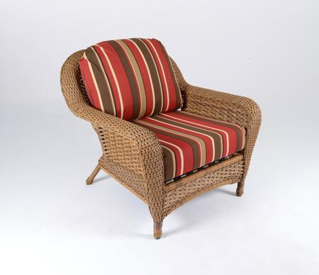 Sea Pines Collection LEX-C1-M-MONS Club Chair in Mojave Wicker and Monserrat Sangria Fabric