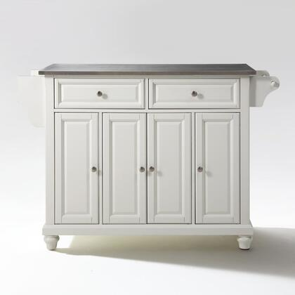 Cambridge Collection KF30002DWH Stainless Steel Top Island/Cart in White