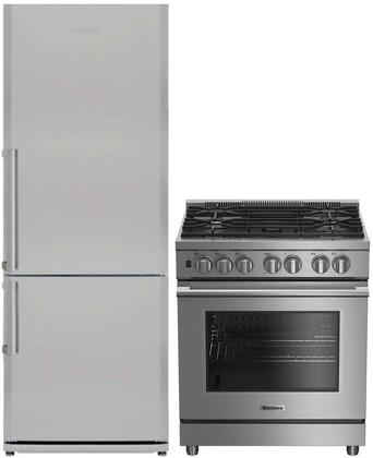 """2 Piece Kitchen Appliances Package With BDFP34550SS 30"""" Slide-in Gas Range and BRFB1522SS 28"""" Bottom Freezer Refrigerator In Stainless"""