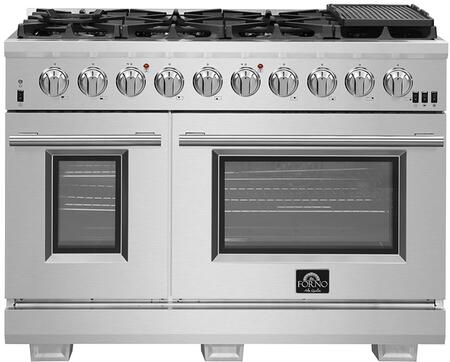 FFSGS6187-48 48″ Stainless Steel Pro-Style Dual Fuel Range with 6.58 cu. ft. Total Capacity  8 Italian Defendi Brass Burners  Convection Fan and Cast