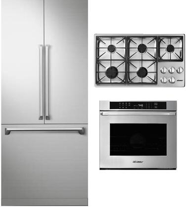 3 Piece Kitchen Appliances Package with DRF367500AP 36″ French Door Refrigerator  HWO130FS 30″ Electric Single Wall Steam Oven and HCT365GSNGH 36″