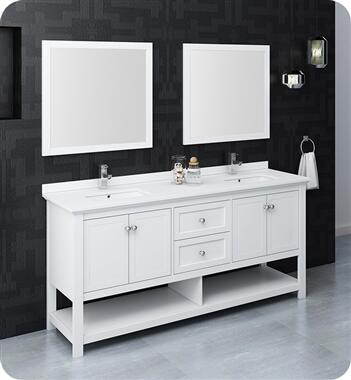 Manchester Collection FVN2372WH-D 71″ White Traditional Double Sink Bathroom Vanity with