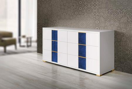 Olympia Collection OLYMP-DRS-WH-21 61″ Dresser with 6 Soft Closing Drawers  Velvet Accent and Gold Metal Handles in White Shiny
