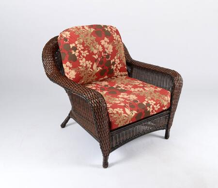 Sea Pines Collection LEX-C1-J-MONTF Club Chair in Java Wicker and Montfleur Sangria Fabric