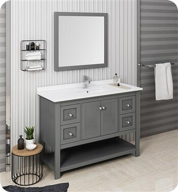 Manchester Collection FVN2348VG Regal 48″ Grey Wood Veneer Traditional Bathroom Vanity with