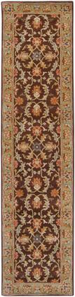 Caesar CAE-1009 3′ x 12′ Runner Traditional Rugs in Dark Brown  Camel  Burnt Orange  Khaki  Charcoal