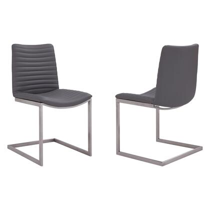 April Collection LCAPSIBSGR Set of 2 Dining Chairs with Bucket Seat Design  Contemporary Style  Brushed Stainless Steel Frame and Faux Leather