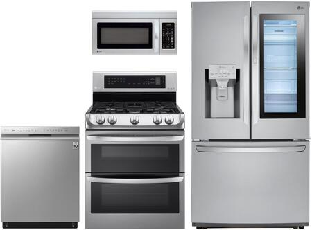 4 Piece Kitchen Appliances Package with LFXS26596S 36″ French Door Refrigerator  LRG3194ST 30″ Gas Range  LMV1831ST 30″ Over the Range Microwave and
