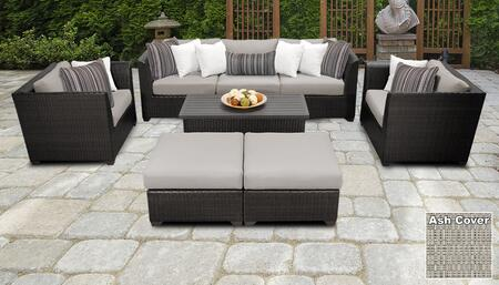Barbados BARBADOS-08c-ASH 8-Piece Wicker Patio Set 08c with 2 Corner Chairs  1 Armless Chair  2 Ottomans  2 Club Chairs and 1 Storage Coffee Table –