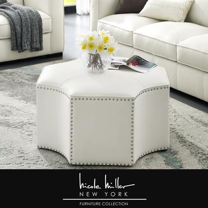 Runrawin Collection NON113-01WE-AC Cocktail Ottoman with Handmade Nailhead Trim  PU Leather Upholstery and  in White and Chrome