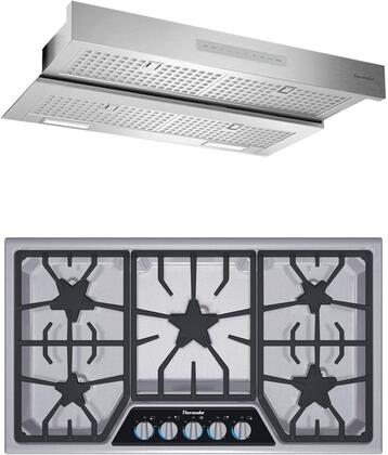 2 Piece Kitchen Appliances Package with SGSX365FS 36″ Gas Cooktop and HMDW36WS 36″ Under Cabinet Insert Hood in Stainless