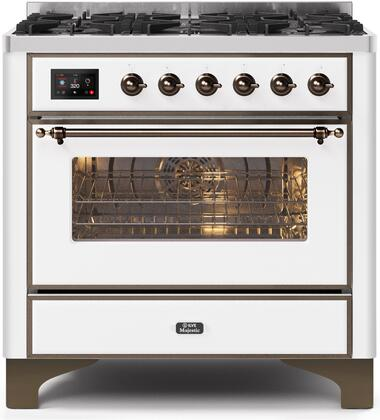 Ilve Majestic II UM096DNS3WHB Freestanding Dual Fuel Range White, UM096DNS3WHBNG-Front-CD-A