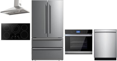 5 Piece Kitchen Appliances Package with SJG2351FS 36″ Counter Depth 4 Door French Door Refrigerator  SWA3052DS 30″ Electric Single Wall Oven