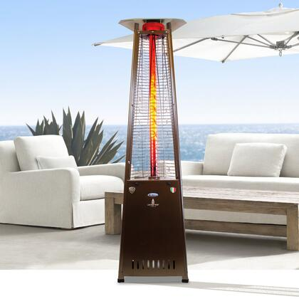 AL8RGB 2G 92.5″ Triangle Glass Tube Outdoor Heater with  66 000 BTU  Remote Control  Push Button Ignition   in Heritage Bronze  Natural Gas –