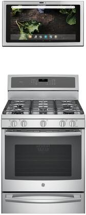 2 Piece Kitchen Appliances Package with PGB940SEJSS 30″ Gas Range and UVH13012MSS 30″ Under Cabinet Ducted Hood in Stainless
