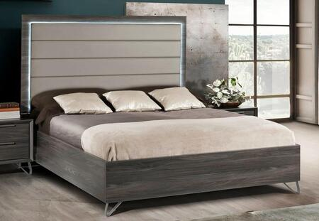 Amalfi Collection AMALF-KGBED-MGR-43 King Bed with Eco-Leather Gray Upholstered Headboard  LED Light and Box Spring Included in Matt Gray