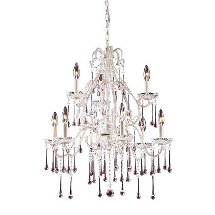 4003/6+3RS Opulence 9-Light Chandelier in Antique White with Rose