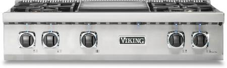 Viking 5 Series VRT5364GSS Gas Cooktop Stainless Steel, Front view