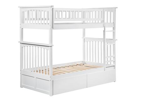 Columbia Collection AB55142 Twin Over Twin Size Bunk Bed with 2 Urban Bed Drawers  Lead Free  Casters  Clip On Ladder and Solid Eco-Friendly Hardwood