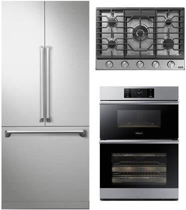 3 Piece Kitchen Appliances Package with DRF367500AP 36″ French Door Refrigerator  DOC30M977DS 30″ Electric Double Wall Steam Oven/Microwave Combo and