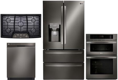 Lg 4 Piece Kitchen Package With Lmxs28626d 36 Inch Smart French Door Refrigerator Lcg3611bd Gas Cooktop Lwc3063bd 30 Electric Double Wall Oven Microwave Combo And Ldf5545bd 24 Built