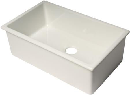 AB3018UD-W 30″ White Undermount/Drop In Fireclay Kitchen Sink with 3.5″ Rear Drain Opening in