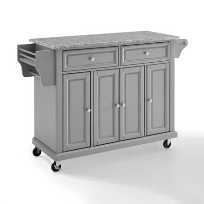Full Size Kitchen Collection KF30003EGY Full Size Granite Top Kitchen Cart in Gray