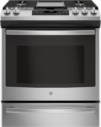 GE JGS760SELSS 30 Inch Slide-in Gas Range with Sealed Burner Cooktop, 5.6 cu. ft. Primary Oven Capacity, in Stainless Steel