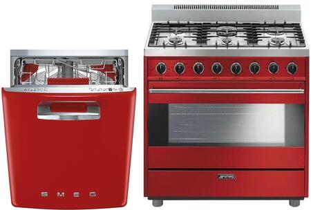Smeg 1054453 2 piece Red Kitchen Appliances Package