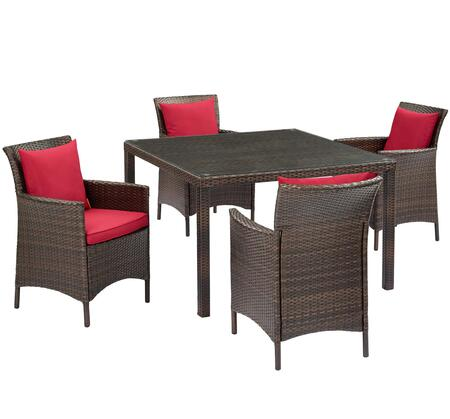 Conduit Collection EEI-3893-BRN-RED-SET  5 Piece Outdoor Patio Wicker Rattan Set with Powder-Coated Aluminum Frame  Synthetic PE Rattan Weave and