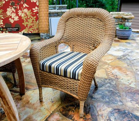 Sea Pines Collection LEX-DC-M-MONTF Dining Chair in Mojave Wicker and Montfleur Sangria Fabric