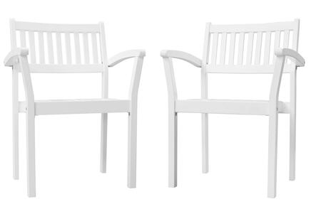 """Bradley Collection V1806 Set of (2) 23"""" Outdoor Patio Wood Garden Stacking Armchair with Acacia Hardwood Construction and Slatted Seat in"""