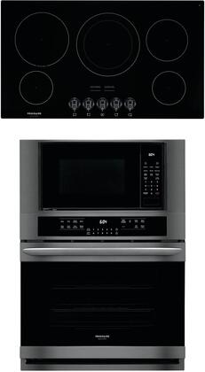 """2 Piece Kitchen Appliances Package with FGMC3066UD 30"""" Electric Double Wall Oven/Microwave Combo and FGEC3648UB 36"""" Electric Cooktop in Black"""