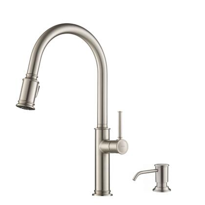 Sellette Series KPF-1680SFS-KSD-80SFS Single Handle Pull Down Kitchen Faucet with Deck Plate and Soap Dispenser in all-Brite Spot Free Stainless