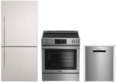 """3-Piece Kitchen Appliances Package with BRFB1812SSN 30"""" Bottom Freezer Refrigerator BERU30420SS 30"""" Electric Range and DWT81800SS 24"""" Built In Fully"""