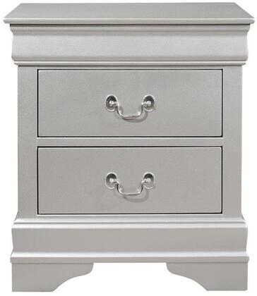 Global Furniture USA Marley MARLEYSILVERNS Nightstand Silver, Main Image
