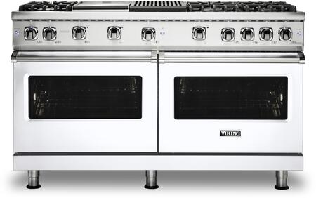 Viking 5 Series VGR5606GQWHLP Freestanding Gas Range White, Front view
