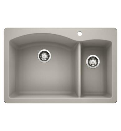 Diamond 442751 Silgranit Drop-In/Undermount Sink Bowl with Dual Deck  in Concrete