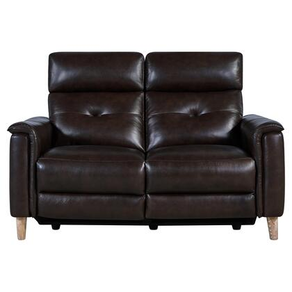 LCGA2BR Gala Contemporary Loveseat in Brown Wood Finish and Dark Brown Genuine