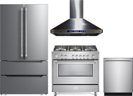 4 Piece Kitchen Appliances Package with VERF36CDSS 36″ French Door Refrigerator  VDFSGG365SS 36″ Gas Range  VEHOOD36CH 36″ Wall Mount Range Hood and
