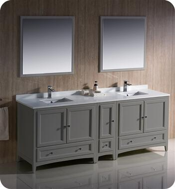 Oxford Collection FVN20-361236GR 84″ Grey Traditional Double Sink Bathroom