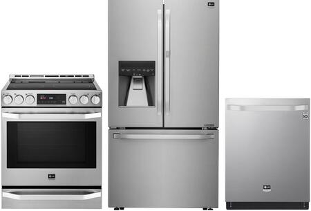 3 Piece Kitchen Appliances Package with LSFXC2476S 36″ French Door Refrigerator  LSSE3027ST 30″ Electric Range and LSDT9908ST 24″ Built In Fully