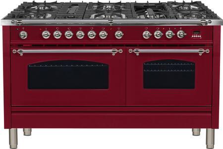 Ilve Nostalgie UPN150FDMPRBXLP Freestanding Dual Fuel Range Red, 1