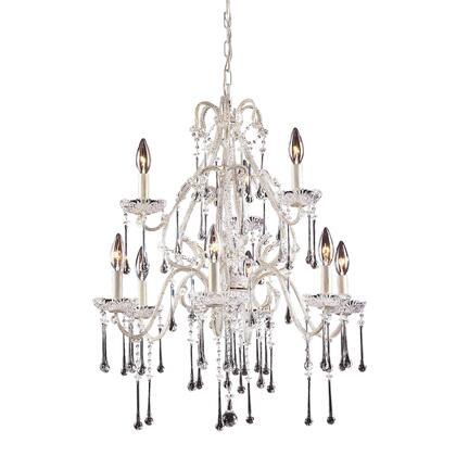 4003/6+3CL Opulence 9-Light Chandelier in Antique White with Clear