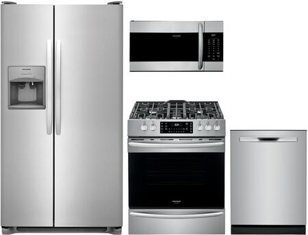 4 Piece Kitchen Appliances Package with FFSS2315TS 33″ Side by Side Refrigerator  FGGH3047VF 30″ Slide-in Gas Range  FGMV17WNVF 30″ Over The Range