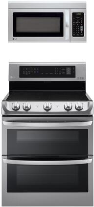 """2 Piece Kitchen Appliances Package with LDE4413ST 30"""" Electric Range and LMV1831ST 30"""" Over the Range Microwave in Stainless"""