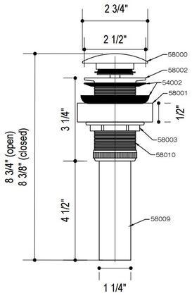 Vigo VG07000CH Faucet Accessory Chrome, Specs