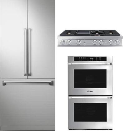 3 Piece Kitchen Appliances Package with DRF367500AP 36″ French Door Refrigerator  HWO230PS 30″ Electric Double Wall Oven and DTT48M976HS 48″ Gas