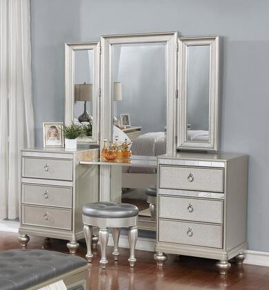 Christopher Collection CR459-VANITY Vanity Table with Tri-Fold Mirror  6 Drawers  Tulip Feet  Mirror Trim  Molding Details  Tropical Wood and