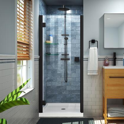 DL-533242-09 Lumen 32″ D x 42″ W by 74 3/4″ H Hinged Shower Door in Satin Black with White Acrylic Base